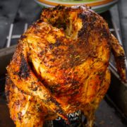 Oven roasted chicken on a can of beer