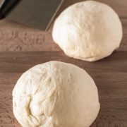 Two balls of easy to make pizza dough