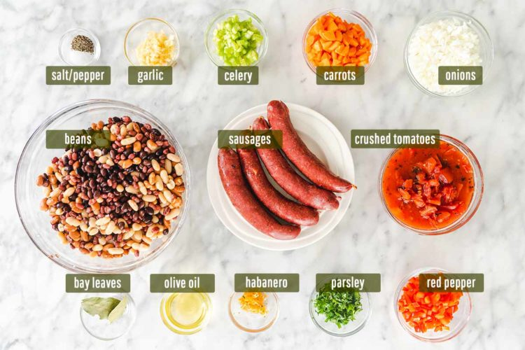 A photo with bean stew ingredients